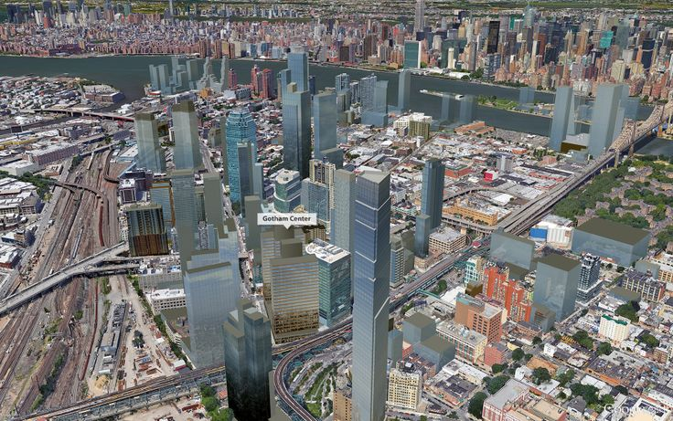 Google Earth aerial view of Gotham Center in the future LIC skyline; CityRealty
