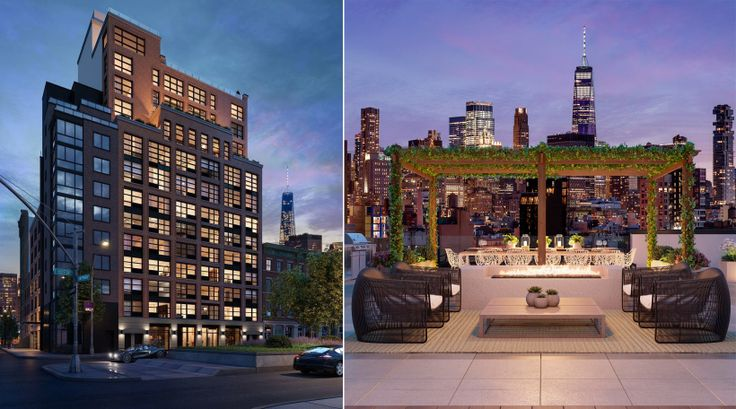 Renderings of the Sione at 171 Suffolk Street and its roofdeck (SMA Equities)
