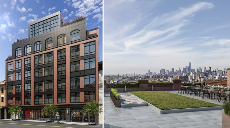 800 Union exterior rendering and view from the roof (Midwood Investment & Development and Meltzer Associates LLC)