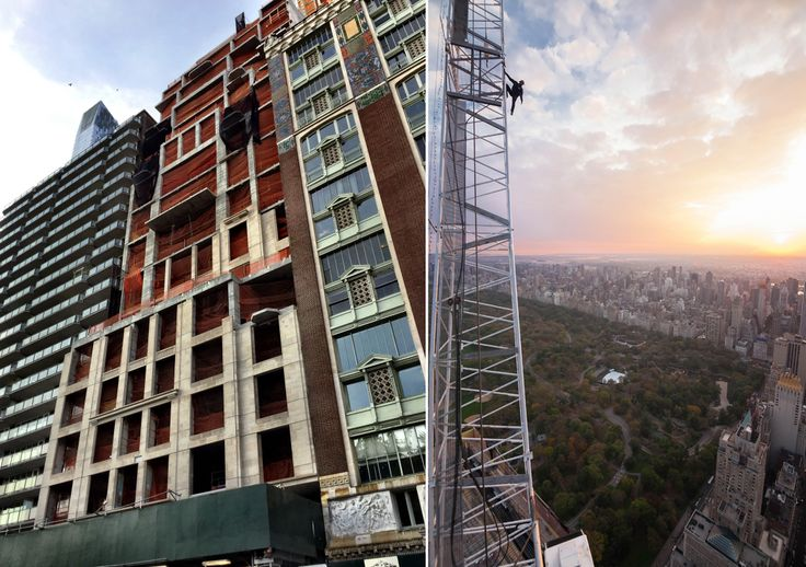 (Left) Construction of 220 Central Park South (Right) Photo atop the building from @vic.invades via Instagram