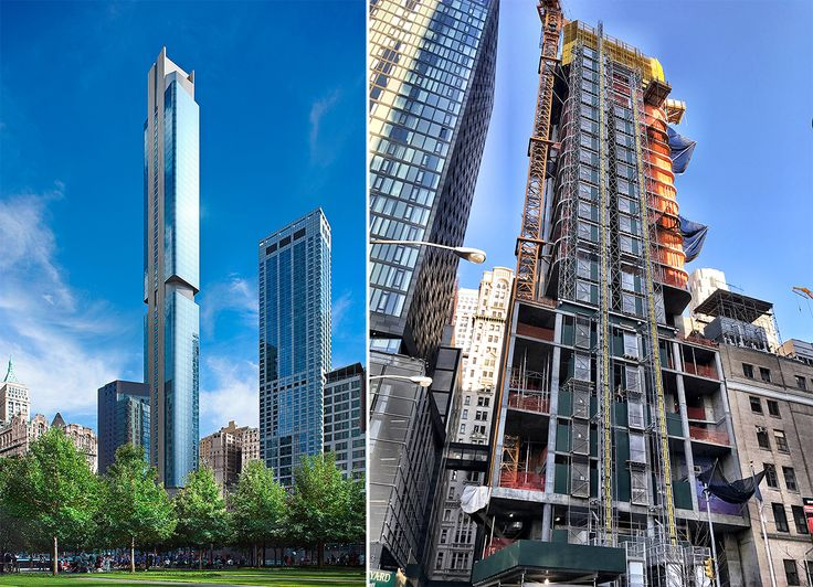 Rendering of 125 Greenwich (MARCH) and construction photo (CityRealty)