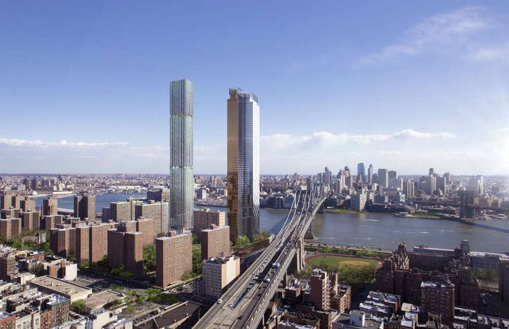 247 Cherry Street and One Manhattan Square, two of five major towers for the LES' Two Bridges neighborhood (Rendering credit: JDS Development)
