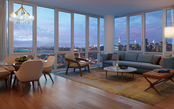 1 QPS Tower in Long Island City is 45% leased after debuting just weeks ago. (Image via Property Markets Group)