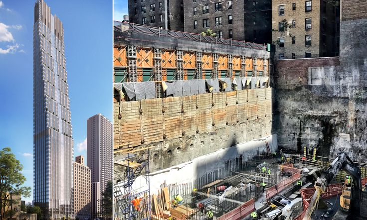 L: Rendering of 200 Amsterdam Avenue (Elkus Manfredi Architects), R: Construction photo by CityRealty