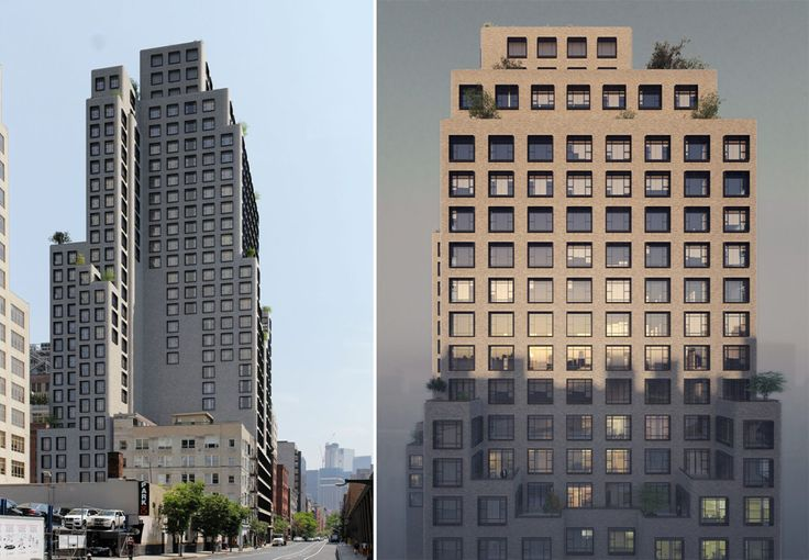 Renderings reveal staggered setbacks and private landscaped terraces. (Arte-Factory)
