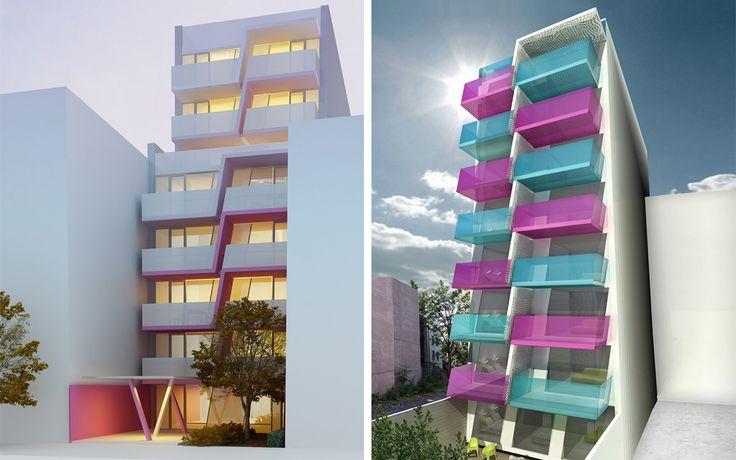 New design (left) tones down the original design's (right) pink and blue color scheme.