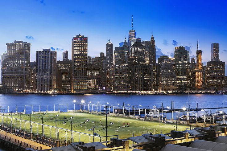 Brooklyn Bridge Park and the Manhattan skyline from One Brooklyn Bridge Park #536 available for $1.825M (Corcoran)