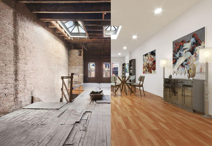 Images showing existing condition and virtual rendering at 410 West 146th Street (via Corcoran Group)