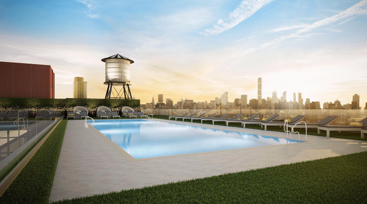 New Long Island City rental 'ARC' has more than 50,000 square feet of amenities, including a Rooftop Pool Club. (Image via Lightstone Group)