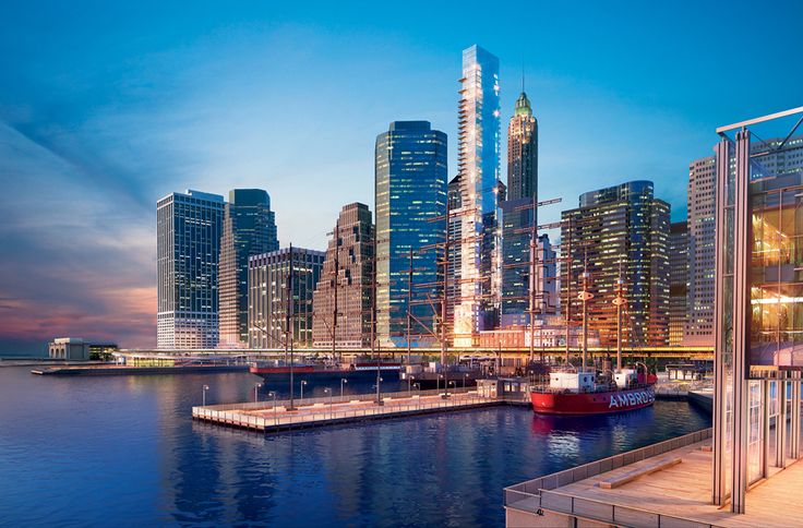 Rendering of 1 Seaport from the East River; Credit Willliams New York