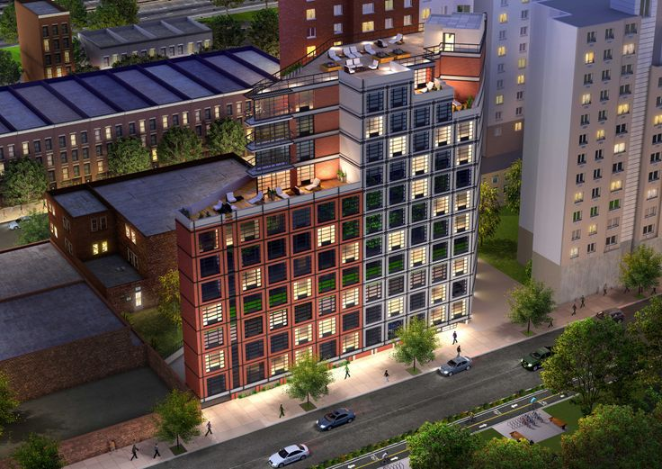 Rendering of 329 East 132nd Street; Courtesy of Aufgang Architects