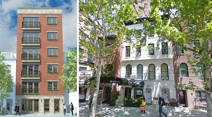 (L) Rendering of the Six-Story Boutique Condominium, (Right) Photo of existing structure (via Google Maps)