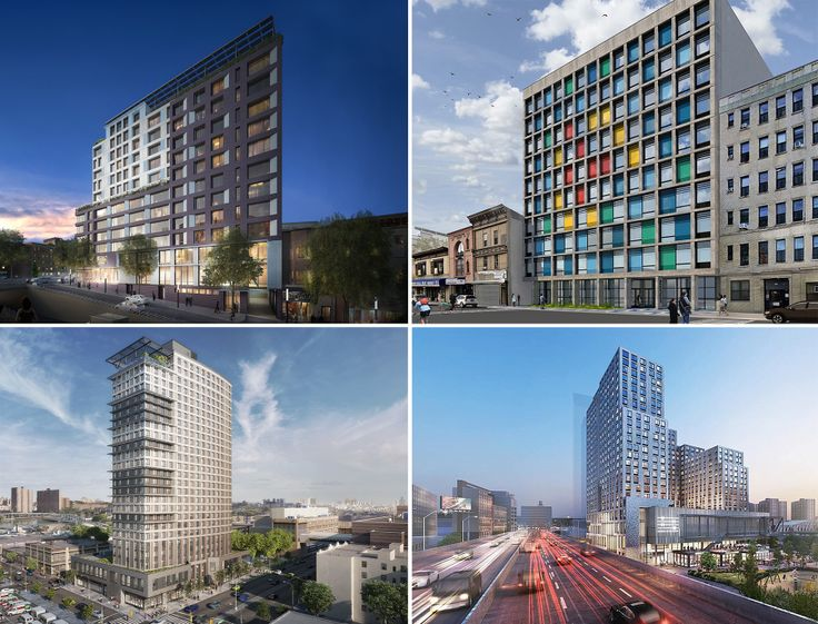A few of the thousands of affordable units coming to the South Bronx. Clockwise from upper-left: 2050 Grand Concourse, 3401 Third Avenue, Bronx Point, and 425 Grand Concouse