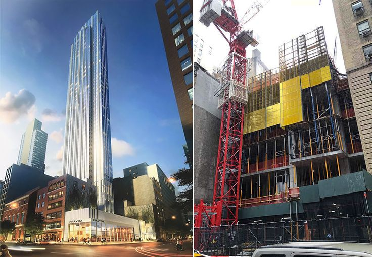 132 Madison Avenue rendering (L: Handel Architects) and construction (R: CityRealty)