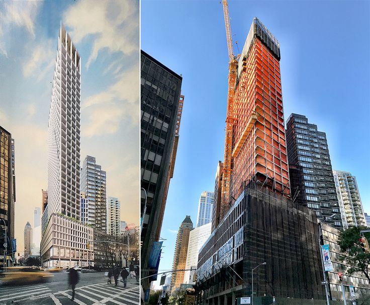 Rendering and construction photo from late November (CityRealty)