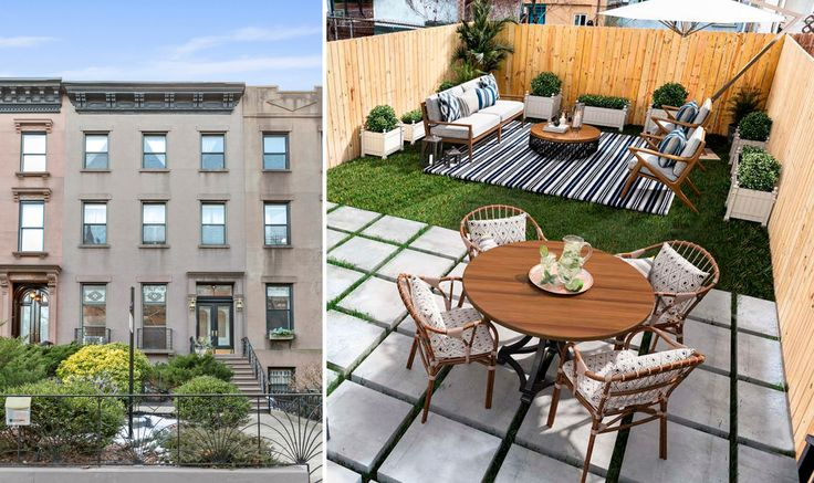 Green space accessed from a brownstone apartment (241 Bainbridge Street via Compass)
