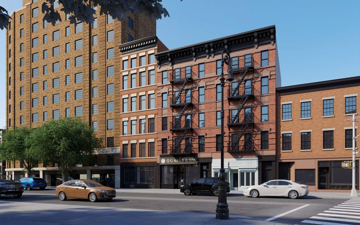 All renderings of 15 Greenwich Avenue (second from left) via Meltzer/Mandl Architects for Landmarks Preservation Commission