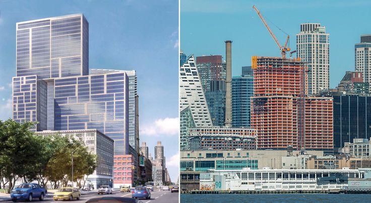 Rendering of 606 West 57th Street via TFC; Recent construction photo via NYConstructionPhoto.com