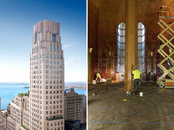 One Wall Street rendering (l, via Core) and Red Room circa May 2019 (r, via DBOX)