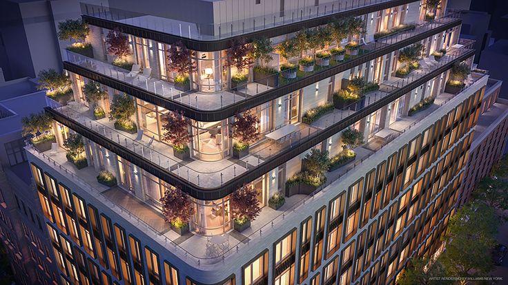 Rendering of terrace penthouses at 40 Bleecker Street in NoHo