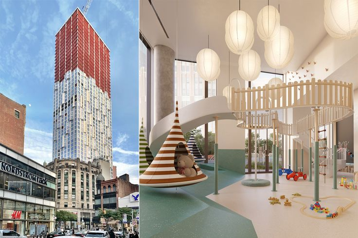 11 Hoyt rendering (l, via Binyan Studio) and construction (CityRealty)