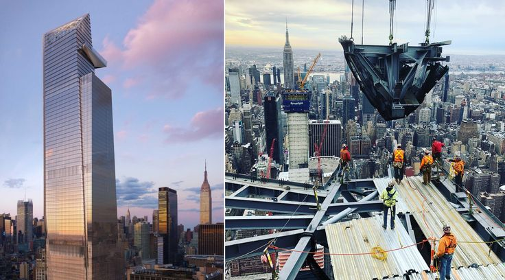 Rendering of 30 Hudson Yards and photo of observation deck installation via Related Companies