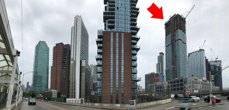 Panoram of LIC's new towers from Thomson Avenue. Rockrose's topped out Eagle Electric redevelopment labeled; CItyRealty
