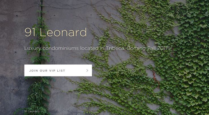 Screenshot of 91 Leonard's registration page (Toll Brothers CityLiving)