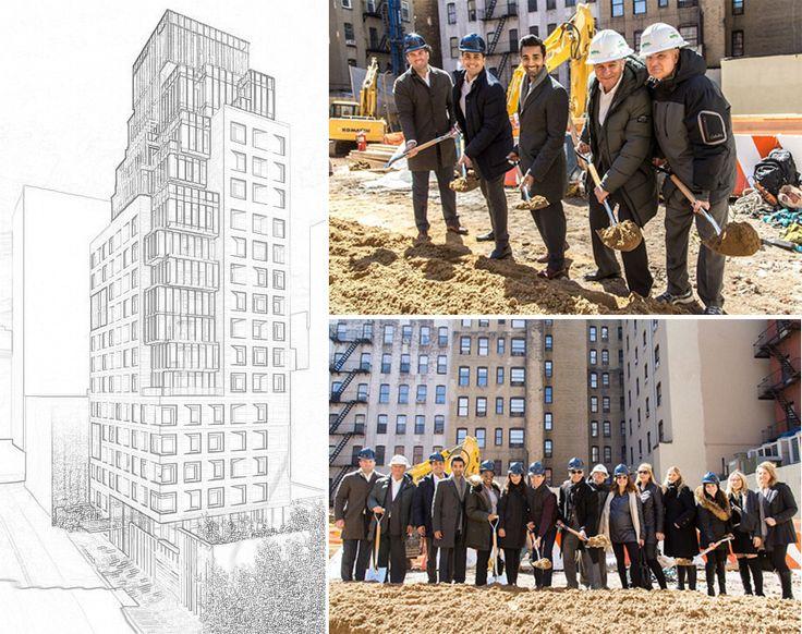 Rendering via United Management/Certes Partners; Groundbreaking photos via Reuveni Real Estate Instagrma