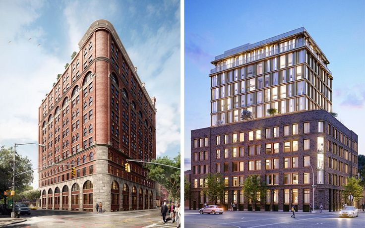 The Shephard (left) and 100 Barrow Street (right), two new residential developments nearing completion in the West Village.