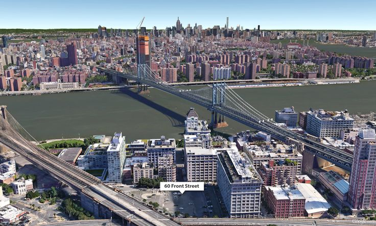 Google Earth aerial showing DUMBO with Fortis' site at 60 Front Street labeled (CityRealty)