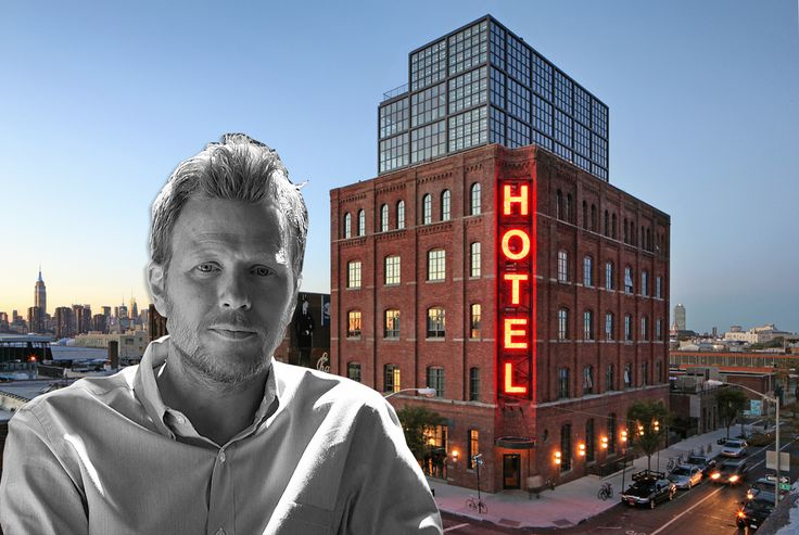 Peter Lawrence and a photo of the Wythe Hotel Image Credits: Matthew Williams, Jimi Billingsley, Mark Mahaney via Wythe Hotel and Morris Adjmi Architects