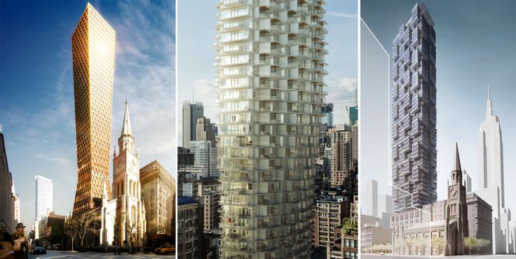 Unbuilt designs for the cleared site at 3 West 29th Street (Credit L to R: FR-EE, Architecture Work, Safdie Architects)