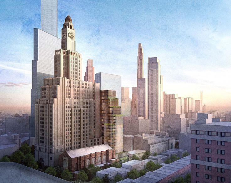 Rendering of revised design via FXCollaborative for Landmarks Preservation Commission