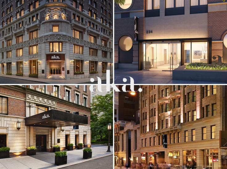 Image (L to R): AKA Wall Street, AKA United Nations, AKA Sutton Place and AKA Times Square (All images via AKA)