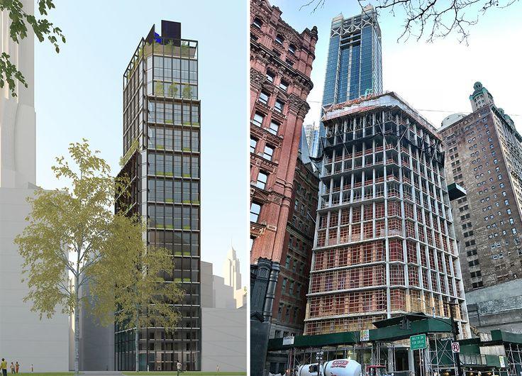 One Beekman rendering via Urban Muse;  Construction progress as of mid-January  (CityRealty)