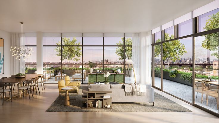 Penthouse living room at The Rowan (All renderings credit of Redundant Pixel via Halstead Real Estate and Transmitter PR)