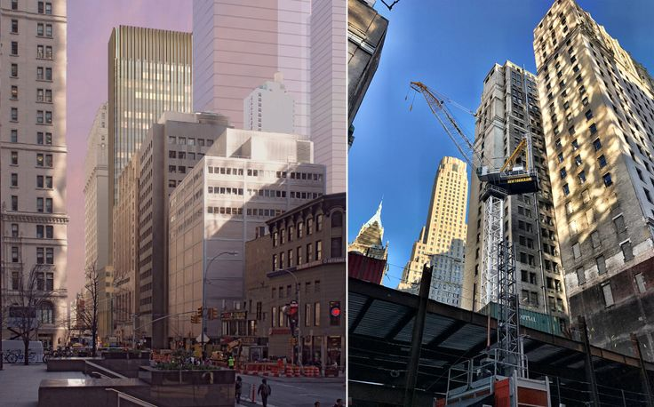 Trinity Church rendering (l; Pelli Clarke Pelli) and construction (r; CityRealty)