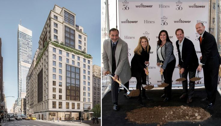 Rendering and groundbreaking photo for Sunrise at East 56th via Hines/Welltower
