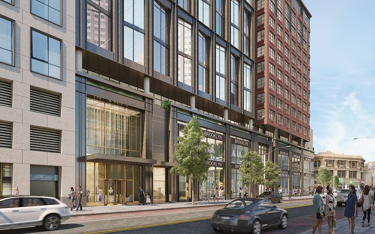 Rendering of 570 Fulton Street's lower floors which would have 2 floors of retail topped by 18 floors of offices. (http://570fulton.com/)