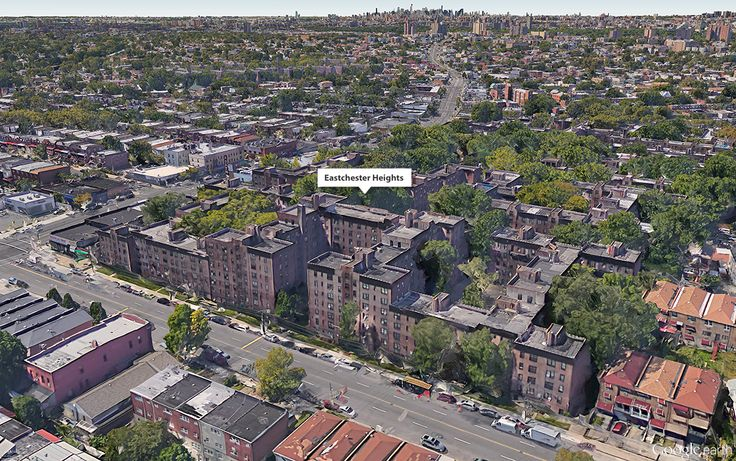 Google Earth aerial showing Eastchester Heights complex (CityRealty)