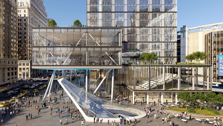 Rendering of a new entrance and canopy for Penn Station and modifications to Vornado's 2 Penn Plaza (PENN 2); Credit: Vornado Realty Trust