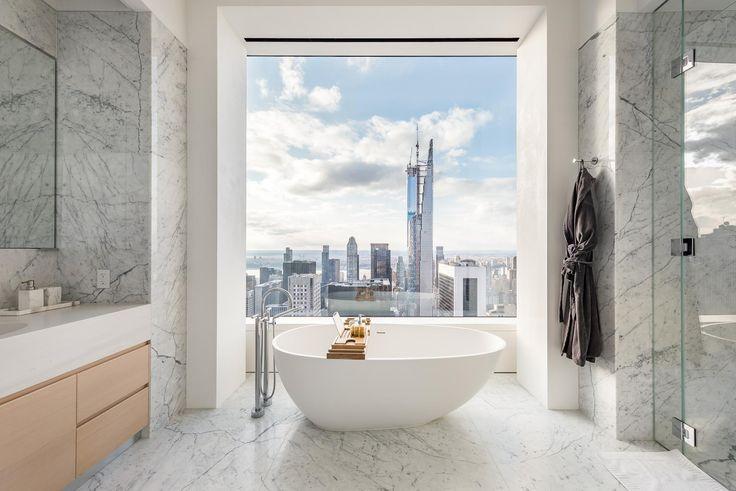 Master bath at 432 Park Avenue (Douglas Elliman)
