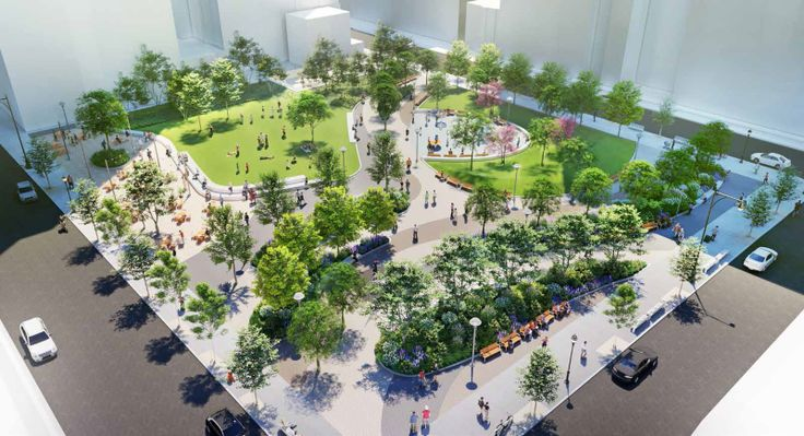 All renderings of Willoughby Square Park via NYEDC and Hargreaves Jones