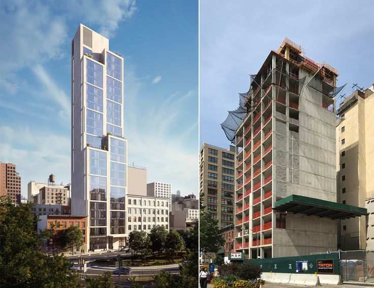 570 Broome rendering (l; Stribling) and photo, circa early September 2017 (r; CityRealty)