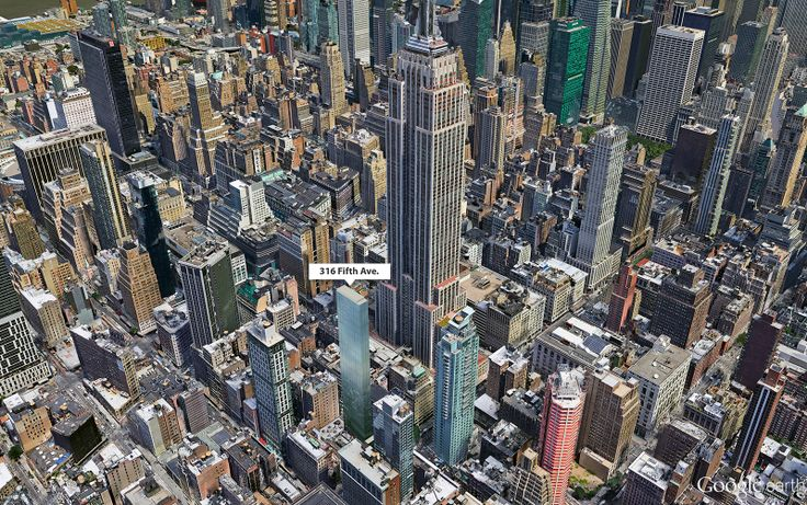 Google Earth aerial showing location and height of 316 Fifth Avenue (CityRealty)