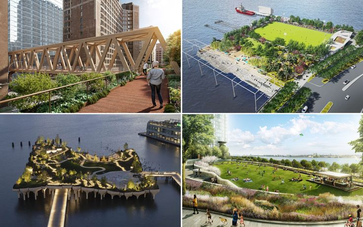 Various new parks planned and recently finished in NYC