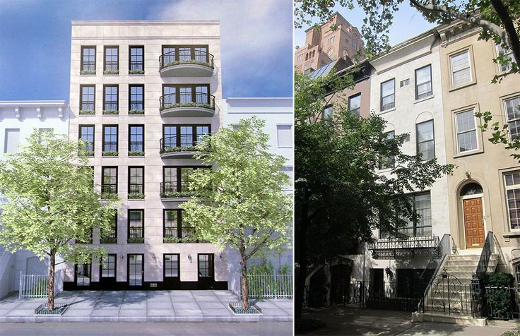 L: Rendering posted at the site, R: Photo of townhouse prior to construction (via Urban Edge NY)