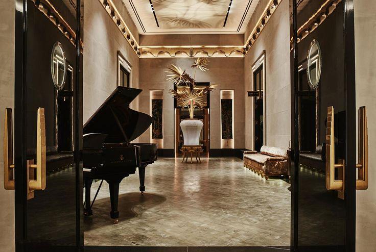 111 West 57th Street's Art Deco-inspired lobby. Notice the door handles