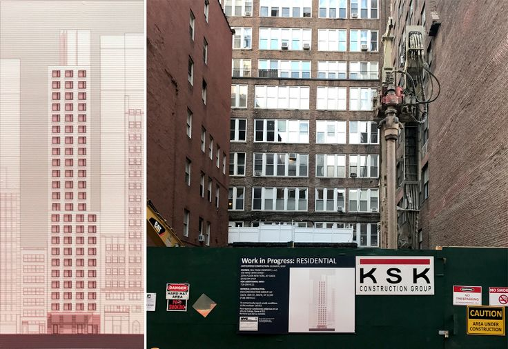Elevation of 211 West 29th Street posted on construction fence (CityRealty)